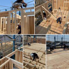 4月27日・桑名市江場にて新築建方を行いました。